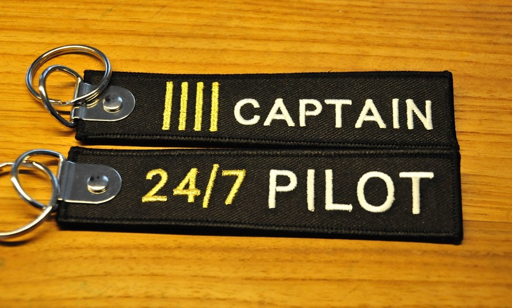 Captain IIII 24/7 Pilot keyring keychain bagagelabel