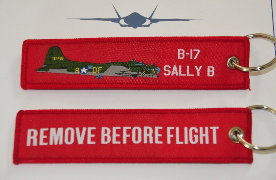 Remove before flight B-17 Flying Fortress keychain