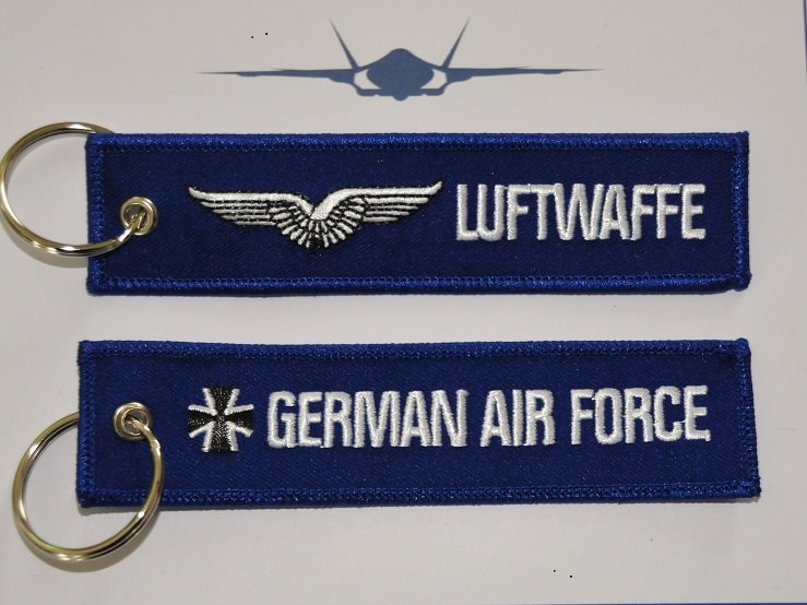 Luftwaffe German Air Force embroidered keyring keychain babage label