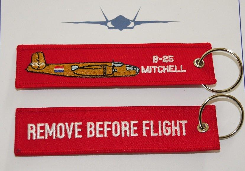 Remove before flight B-25 keychain
