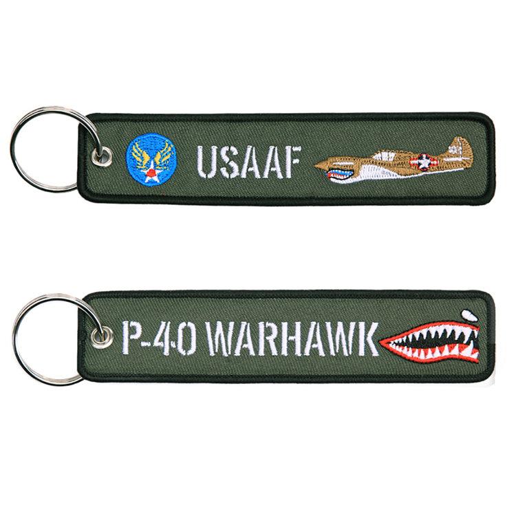P-40 WARHAWK USAAF keyring keychain embroidered