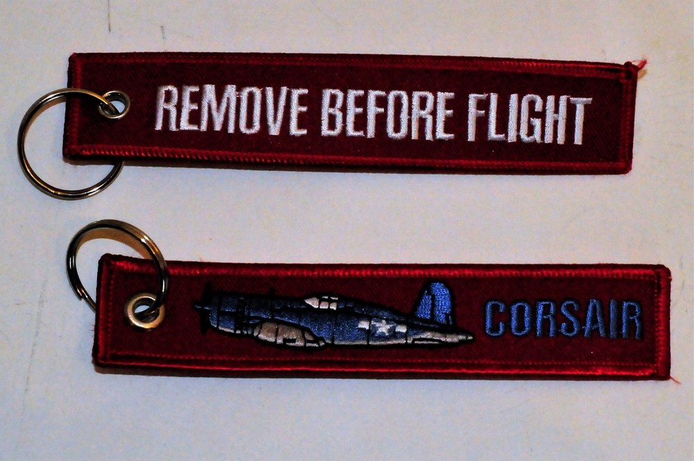 keyring Corsair Remove Before Flight embroided Key Chain