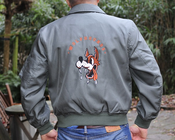 Embroidered CWU-36/P flight jacket 32nd TFS the Wolfhounds CNA Soesterberg Air Base