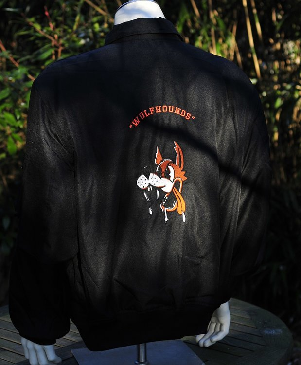 Embroidered CWU-36/P flight jacket Black 32nd TFS the Wolfhounds CNA Soesterberg