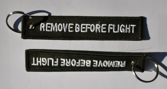 Remove before flight keychain keyring (Air Force Green)