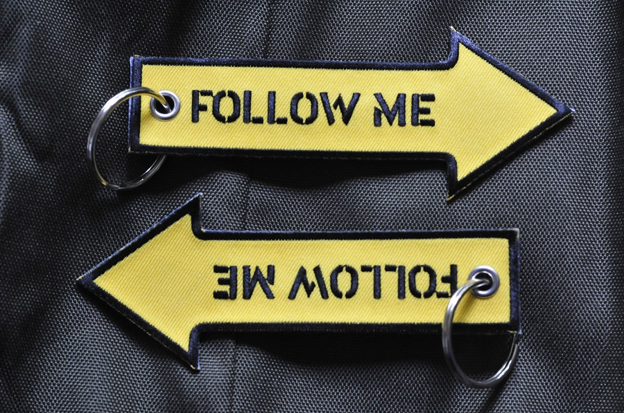 Follow Me Keychain Keyring Embroidered