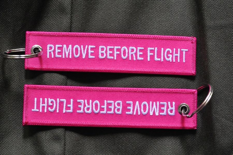 Remove Before Flight (pink) Keychain Keyring Key Chain