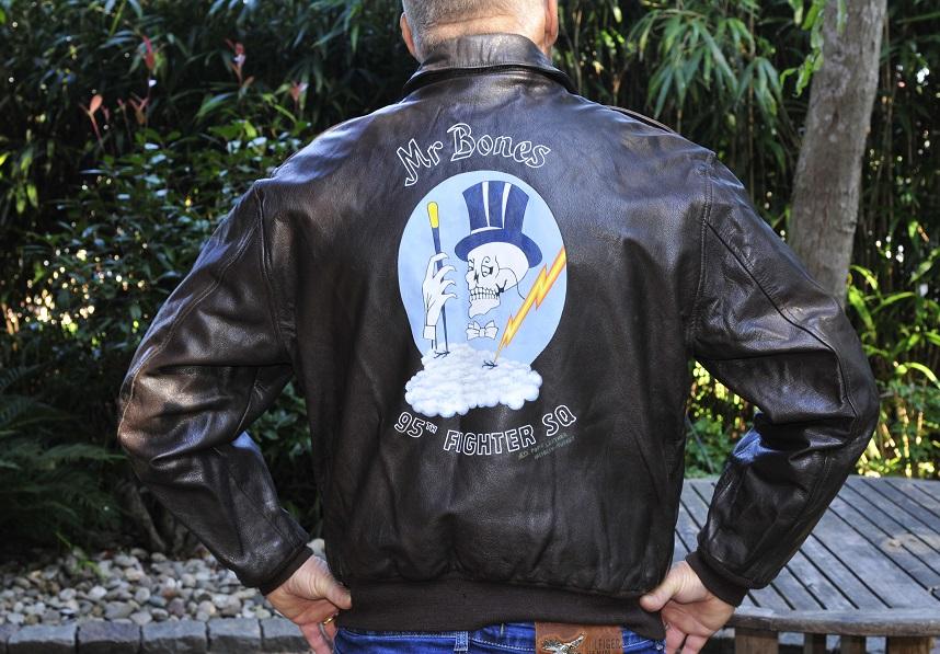 leather A-2 flight jacket 95th FS backpainting Original USAF flight jacket size 46L SALE price