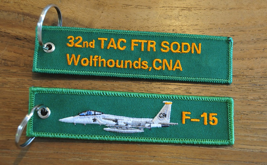 F-15 Eagle 32nd TFS Wolfhounds keyring keychain