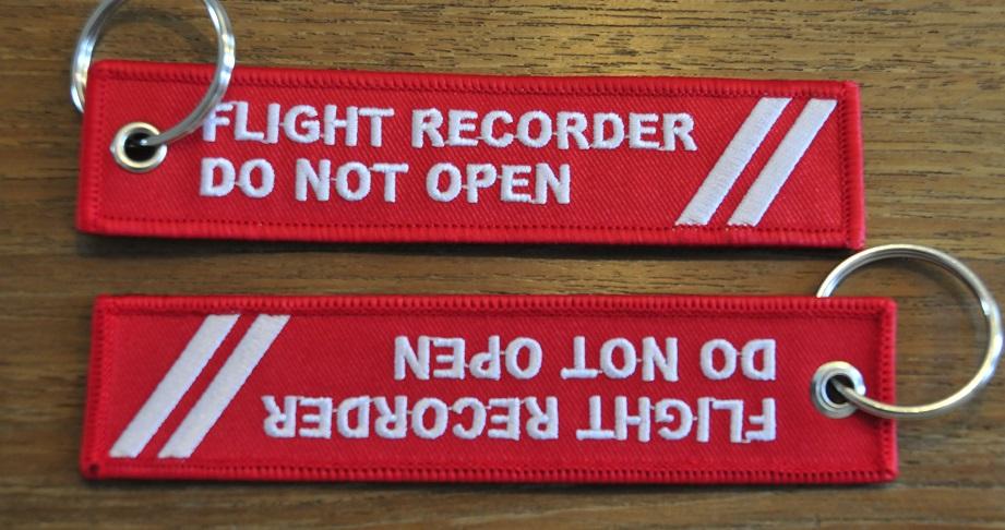 FLIGHT RECORD DO NOT OPEN keychain keyring