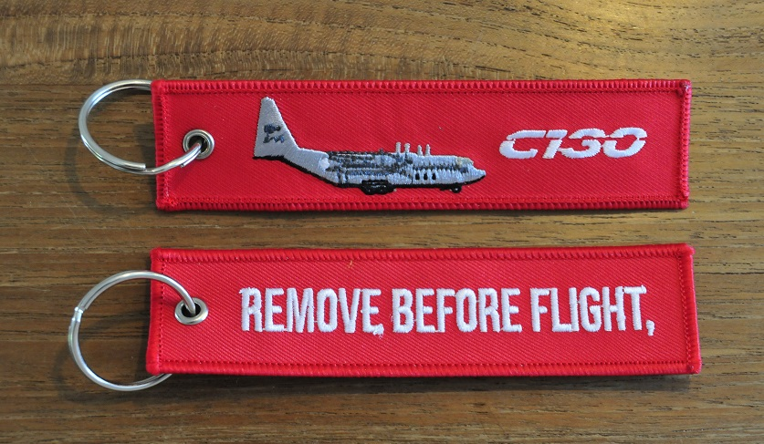 keyring C-130 Hercules Remove Before Flight embroided Key Chain Keychain