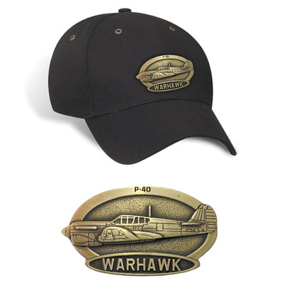 P-40 Warhawk Luxury baseball cap with metal emblem P-40 Warhawk brass cap