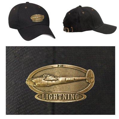 P-38 Lightning Luxury baseball cap with metal emblem P-38 Lightning brass cap