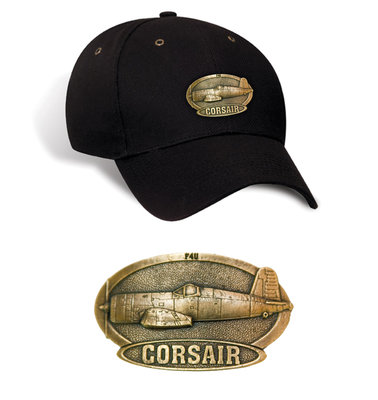 F4U Corsair Luxury baseball cap with metal emblem F4U Corsair brass cap