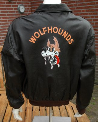 original USAF A-2 flight jacket with Wolfhounds back painting