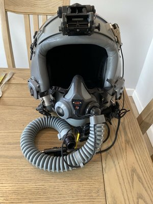 Gentex HGU-55/P flight helmet + MBU-20/P oxygen mask + NVG mount + battery pack + boom micro