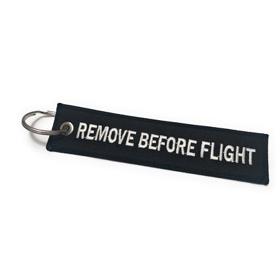 REMOVE BEFORE FLIGHT Keychain Keyring Bagage label