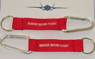 Remove Before Flight keyring keychain with carbine hook