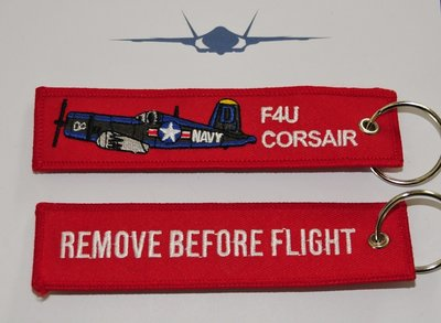 F4U Corsair embroidered keyring keychain babage label