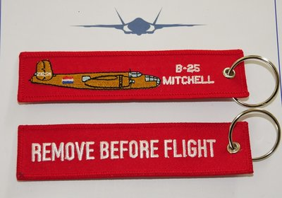 B-25 Mitchell embroidered keyring keychain babage label