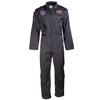 Pilot suit with patches black color (up to 5XL)