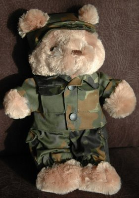 Teddy bear in military uniform - small