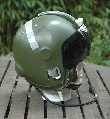 RAF MK.1A flight helmet used by RAF Lightning pilots of 5 Squadron with reflective cross