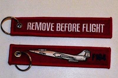 keyring F-104 Starfighter Remove Before Flight embroided Key Chain