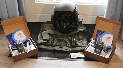Gentex SPH-4 flight helmet with 2 x Baofend UV82 Dual Band FM two-way radio's