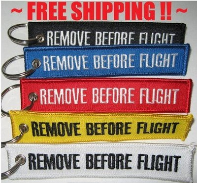 Remove before flight keychains keyring luggage tags (set 2 pieces) (choice of 7 colors) postage free