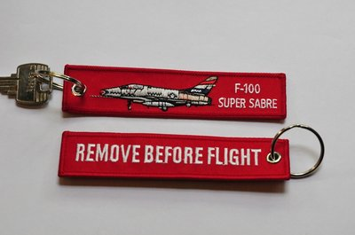 F-100 Super Sabre 32nd TFS keychain keyring Remove Before Flight