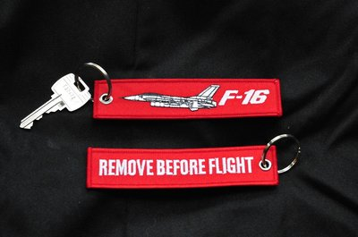 F-16 Keychain Keyring Remove before Flight Key Chain