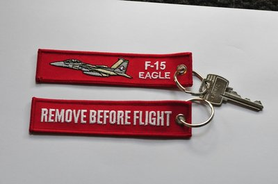 F-15 Eagle keychain keyring Remove Before Flight embroided Key Chain