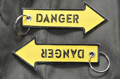 Danger Keyring Keychain embroidered Key Chain