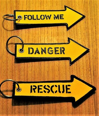 set 11: Remove Before Flight Keychains Keyrings Key Chains 3 different keyrings (Rescue, Follow Me & Danger)