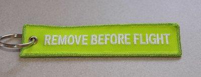 REMOVE BEFORE FLIGHT keychain keyring (light green + white letters)