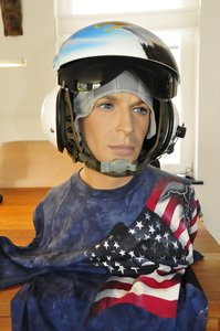 SPH-3B dual visor helicopter helmet with boom mounted microphone Australian Navy painting