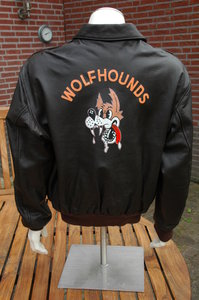 A-2 flight jacket with Wolfhounds backpainting size 46R