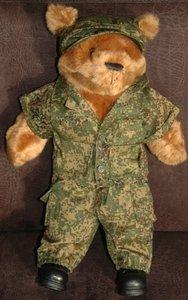 Teddy bear in military uniform - large