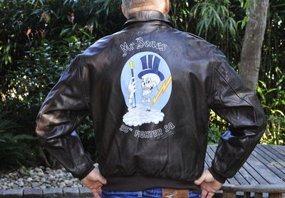 leather A-2 flight jacket (USAF) with 95th Fighter Squadron Mr Bones backpainting Original USAF flight jacket size 46L