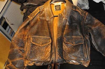 original leather USAF A-2 flight jacket very very old (WWII?)